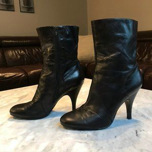 "NineWest BlackLeather Stiletto 4"" Heel Ankle Boots"